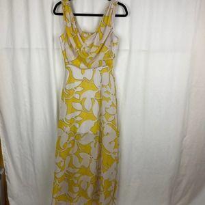 Bisou Bisou Yellow White Maxi Dress